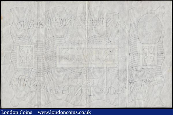 Five Pounds Beale White note B270  Thin paper Metal thread LONDON branch issue dated 1st January 1952 serial number W64 084923, VF or slightly better multiple pinholes to upper centre left body of the note and minor faint pencilled W in upper right : English Banknotes : Auction 170 : Lot 73