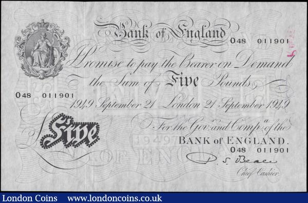 Five Pounds Beale White note B270  Thin paper Metal thread LONDON branch issue dated 21st September 1949 serial number O48 011901, presentable VF pressed with 2 inked signatures on reverse Kemp at left and R. Best at right : English Banknotes : Auction 170 : Lot 74