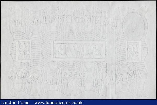 Five Pounds Beale White note B270  Thin paper Metal thread LONDON branch issue dated 30th June 1952 serial number Y20 052976, a pleasing high grade example about UNC - UNC  : English Banknotes : Auction 170 : Lot 77