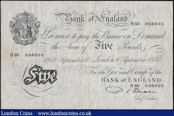 "Five Pounds Beale White note B270  Thin paper Metal thread LONDON branch issue dated 6th September 1950 an interesting ""declining"" serial number S50 056055, VF a very tiny Pinhole at upper left : English Banknotes : Auction 170 : Lot 78"