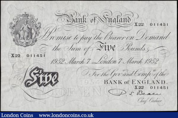 Five Pounds Beale White note B270  Thin paper Metal thread LONDON branch issue dated 7th March 1952 serial number X22 011451, GVF and pleasing. For a consecutively numbered note to this see next lot : English Banknotes : Auction 170 : Lot 79