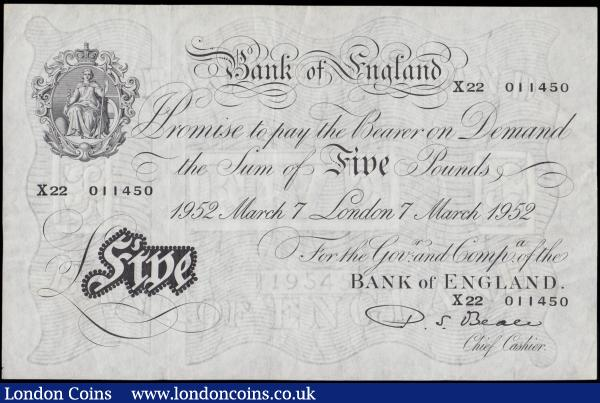 Five Pounds Beale White note B270  Thin paper Metal thread LONDON branch issue dated 7th March 1952 serial number X22 011450, GVF and pleasing. For a consecutively numbered note to this see previous lot : English Banknotes : Auction 170 : Lot 80
