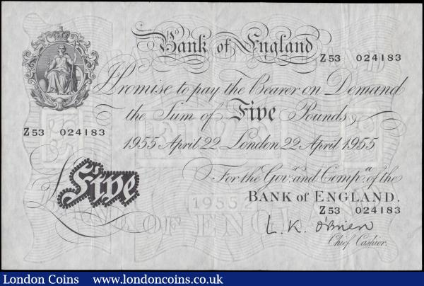 Five Pounds O'Brien White note B275 Thin paper Metal thread LONDON branch issue dated 22nd April 1955 serial number Z53 024183, presentable VF - GVF : English Banknotes : Auction 170 : Lot 83