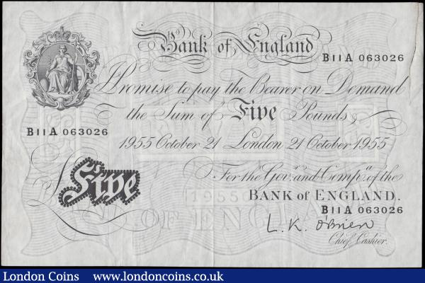 Five Pounds O'Brien White note B276 Thin paper Metal thread LONDON branch issue dated 21st October 1955 serial number B11A 063026, VF - GVF with a glue repaired 52mm tear in the right margin but not affecting design and a inked numeral on reverse : English Banknotes : Auction 170 : Lot 87