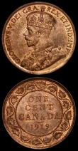 London Coins : A170 : Lot 953 : Canada One Cent 1919 (2) KM#21 both UNC with around 25% lustre, both have all 8 diamonds clear in th...