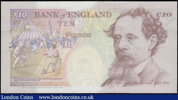 Ten Pounds Kentfield QE2 & Charles Dickens B369 Orange-Brown denomination at upper right issue 1993 and a VERY FIRST RUN and LOW number from circulation DD0 000401, UNC and these low numbers keenly sought after especially in these high grades : English Banknotes : Auction 170 : Lot 98
