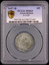 Sixpence 1697B First Bust, Later Harp, Large Crowns ESC 1554, Bull 1261 Toned UNC in a PCGS holder and graded MS64