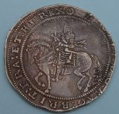 London Coins : A122 : Lot 1217 : Crown Charles I Truro mint, 1642-3, mint mark rose. S.3045. Slightly weak on kings head othe...