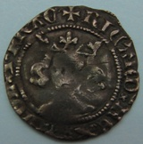 London Coins : A122 : Lot 1294 : Penny Richard II class II, London mint. S.1688. About fine.
