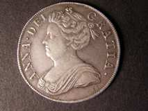 London Coins : A122 : Lot 1477 : Crown 1713 Roses and Plumes ESC 109 NVF with a few marks below the portrait