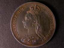London Coins : A122 : Lot 1488 : Crown 1887 Proof ESC 297 UNC nicely toned with a nick and a small scratch on the portrait