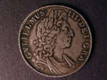 London Coins : A122 : Lot 1620 : Halfcrown 1698 DECIMO ESC 554 VF/GVF with grey toning