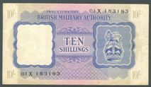 London Coins : A122 : Lot 318 : British Military Authority 10 shillings issued 1943, scarce Balkan series prefix 01X, PickM5...