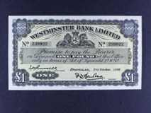 London Coins : A122 : Lot 415 : Isle of Man Westminster Bank £1 dated 21st October 1960 signed Barlow/Russell, Pick23Ab...