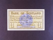 London Coins : A122 : Lot 472 : Scotland Bank of Scotland £1 dated 3rd September 1955 prefix G, Pick100b, almost EF
