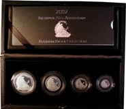 London Coins : A122 : Lot 685 : Britannia 20th Anniversary Platinum Proof Collection 2007 a 4-coin set comprising £100 (1 ounc...