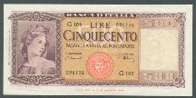 London Coins : A124 : Lot 1570 : Italy 500 lire dated 1947 series G109, Pick80a, EF