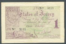 London Coins : A124 : Lot 1576 : Jersey German occupation 1 pound issued 1941-42, serial No.5111, Pick6a, small rust spot...