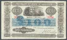London Coins : A124 : Lot 1598 : Northern Ireland Ulster Bank Ltd £100 dated 1st January 1943 serial 3034 handsigned Niblock&#4...