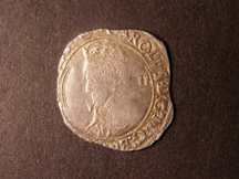 London Coins : A124 : Lot 1909 : Shilling Charles I S.2799 Large Briot Bust mintmark Triangle in Circle NVF double struck on an irreg...
