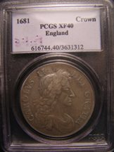 London Coins : A124 : Lot 2279 : Crown 1681 S3359 PCGS XF 40 (approaching VF)