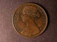 London Coins : A124 : Lot 711 : Penny 1869 Freeman 59 dies 6+G GVF with some corrosion around Britannia