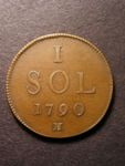 London Coins : A125 : Lot 828 : Luxembourg One Sol 1790H KM#15 NEF and scarce