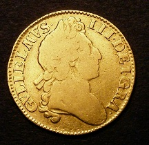 London Coins : A126 : Lot 1040 : Guinea 1701 Second Bust Narrow Crowns S.3463 VG/NF