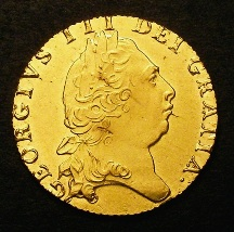 London Coins : A126 : Lot 1071 : Guinea 1797 S.3729 Lustrous About as struck with a couple of minor flan faults on the obverse, s...