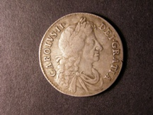 London Coins : A126 : Lot 1119 : Halfcrown 1673 ESC 473 better than Fine with a flan crack by GRATIA