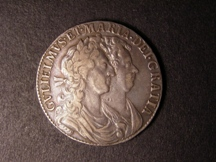 London Coins : A126 : Lot 1128 : Halfcrown 1689 First Shield Caul and Interior Frosted, No Pearls ESC 504 approaching VF, Sca...