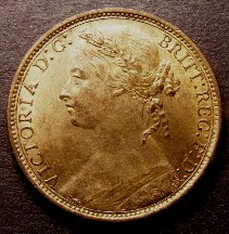 London Coins : A126 : Lot 1330 : Penny 1876H Freeman 89 dies 8+K UNC with almost full, subdued lustre