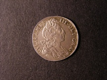 London Coins : A126 : Lot 1445 : Sixpence 1697 Third Bust Large Crowns ESC 1566 EF toned