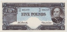 London Coins : A126 : Lot 215 : Australia £5 issued 1960-65, Reserve Bank prefix TC/24, Sir John Franklin portrait,...