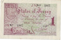 London Coins : A126 : Lot 312 : Jersey 1 pound issued 1941-42, No.1867, German occupation WW2, Pick6a, faint fox mar...