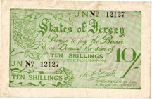 London Coins : A126 : Lot 313 : Jersey 10 shillings issued 1941-42, No.12127, German occupation WW2, Pick5a, faint f...