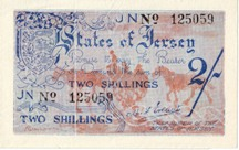 London Coins : A126 : Lot 315 : Jersey 2 shillings issued 1941-42, No.125059, German occupation WW2, Pick3a, UNC