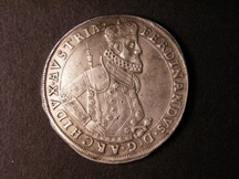 London Coins : A126 : Lot 449 : Austria Thaler 1617 Archduke Ferdinand II Obverse Half Length Bust facing right with sword in left h...