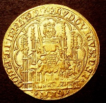 London Coins : A126 : Lot 451 : Belgium Flanders (Low Countries) Chaise d'Or undated (Ghent) Louis de Maele 1346-1384 Ruler on ornat...