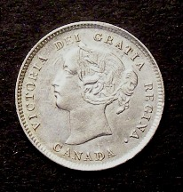 London Coins : A126 : Lot 454 : Canada 5 Cents 1884 KM#2 EF with some light surface marks, Scarce