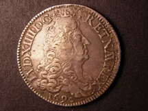 London Coins : A126 : Lot 478 : France Ecu 1690A Paris Mint clearly over struck on a recalled Ecu KM#275.1 VF