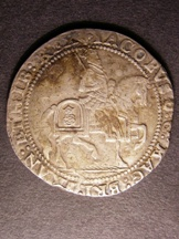 London Coins : A126 : Lot 787 : Crown James I Third Coinage QUAE DEUS CONIUNXIT NEMO SEPARET without stops S2664 grass ground line m...