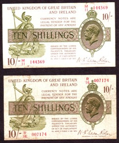 London Coins : A128 : Lot 108 : Treasury 10 shillings Warren Fisher (2) T30 prefixes M11 & R16, pinhole and some wear, F...