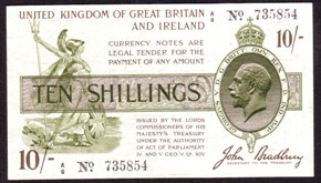 London Coins : A128 : Lot 111 : Treasury ten shillings Bradbury T17 prefix A/6 issued 1918, black serial number, about VF