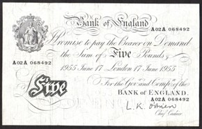 London Coins : A128 : Lot 156 : Five Pounds O'Brien London 17th June 1955 VF serial number A02A 068492
