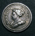 London Coins : A129 : Lot 1283 : Farthing 1714 Pattern in Silver Peck 749 dies 4+F Reverse upright, Good Fine and very rare