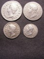 London Coins : A129 : Lot 1593 : Maundy Set 1687 ESC 2382 the Threepence and Fourpence with 7 over 6 GF-GVF