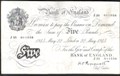 London Coins : A129 : Lot 297 : Five pounds Peppiatt white B255 thick paper dated 22 May 1945 serial J25 011556, good Fine