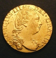 London Coins : A130 : Lot 1247 : Guinea 1785 S.3728 EF or near so and lustrous with a few haymarks and some hairlines on the obverse