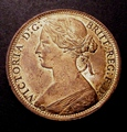 London Coins : A130 : Lot 1585 : Penny 1873 Freeman 64 dies 6+G Lustrous UNC with a couple of spots on the reverse